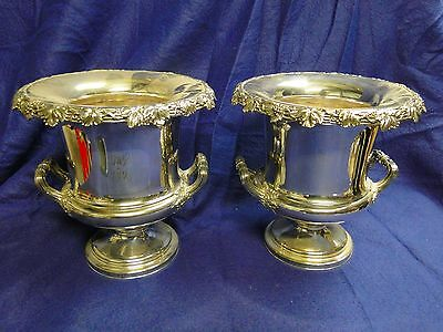 Pair Wine Coolers Old Sheffield, Made Circa 1800 English, Grape & Vine Leaves