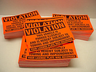 50 VIOLATION Parked illegally Towing/Impound Warning Sign NO Parking Stickers
