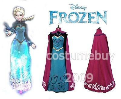 Disney Frozen Snow Queen Elsa Adult Outfit Coronation Dress Cosplay Costume Gown