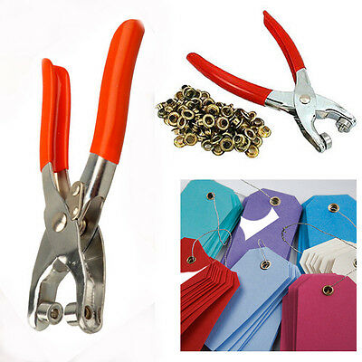 DIY Eyelet Plier Tool Kit Hole Puncher Maker Fabric Craft Eyelets Hand Held Tool