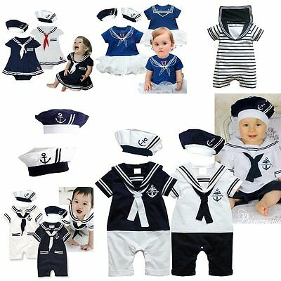 Baby Boy Girl Sailor Carnival Fancy Party Costume Outfit Clothes Set 00 0 1 2