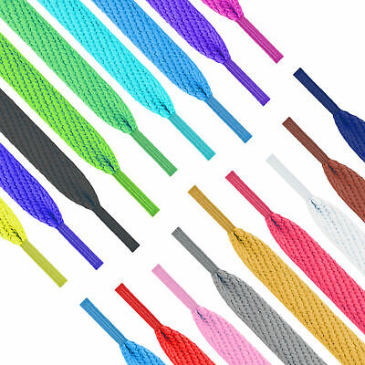 Flat Coloured Shoe Laces 30+ Colours Shoelaces Football Boots Trainer Shoes