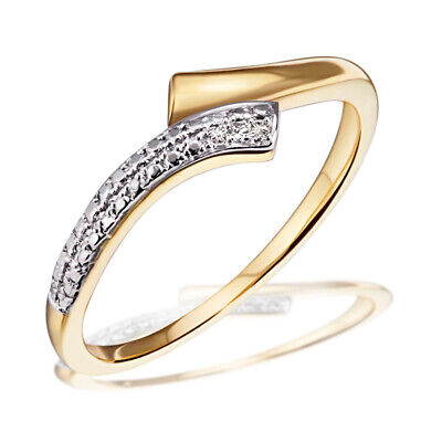 Goldmaid Ring Goldring Bicolor 585 Gelbgold 3 Diamanten SI/H 0,01 ct Echtschmuck