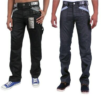 Mens Jeans NEW Enzo Straight Leg Black Grey Coated Jeans All Size