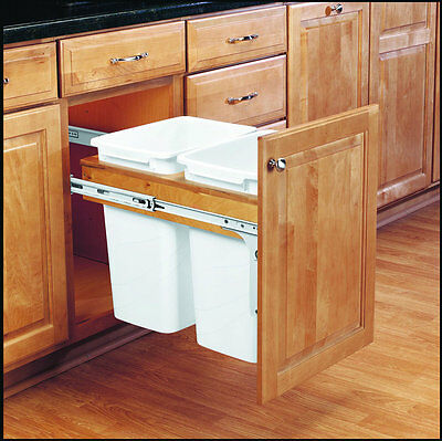 Double 35 Qt Top Mount Wood Pull Out Trash Containers Rev-A-Shelf 4WCTM-18DM2