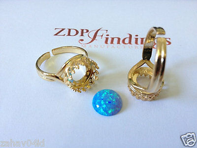 Round 10mm Quality Cast Ring Bezel Cups Gold Plated on Sterling Silver 925