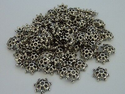 100 pce Antique Silver Star Flower Bead Caps 9mm