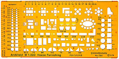 1:200 Scale Metric Architectural Furniture Drawing Drafting Template Stencil
