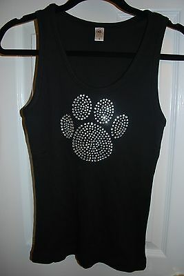 New Women's Girls Tiger Paw Bling Beaded Ribbed Tank Top Size Small