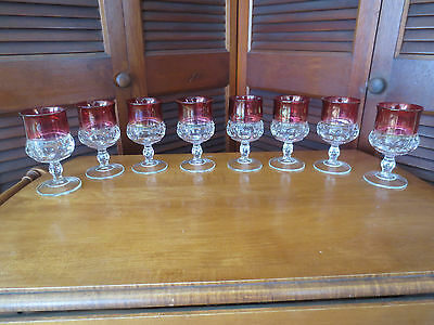 "Kings Crown Cranberry / Ruby Glass Goblets (8) 6 Ounce Wine 5 1/2"" Tall VGC"