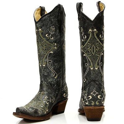 Circle G by CORRAL Women/'s Wing and Cross Embroidered Snip Cowgirl Boots L5066