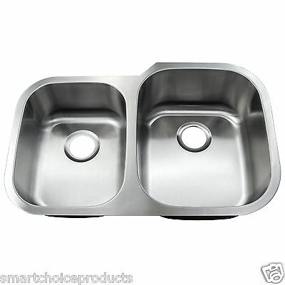 """33"""" x 22"""" Stainless Steel Double Bowl Equal Top Mount Drop-In Kitchen Sink Basin"""