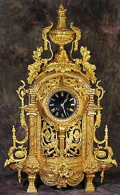 "Huge Wonderful Empire French Antique Gilt Bronze Clock 19Th 33.4 Lbs  27""h"