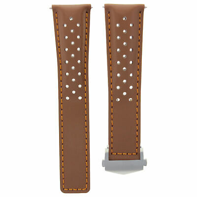 Leather Band Smooth Strap Clasp 20Mm For Tag Heuer Carrera Tan Os Perforated