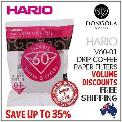 HARIO V60 01 100 White Coffee Paper Filters Dripper Pour Over Cone Cup Brewer