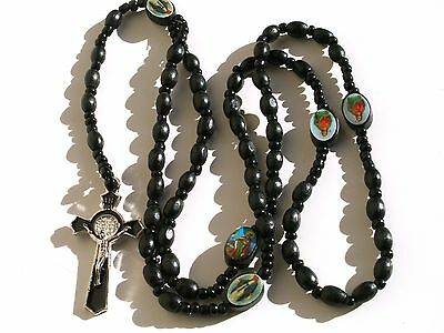 Rosary - wood Prayer Beads - Rosary Crucifix Necklace RRN-14E55BK