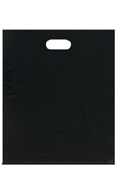 "500 Black Plastic Retail Merchandise Shopping Bags Diecut Handle 15"" x 18"" x 4"""