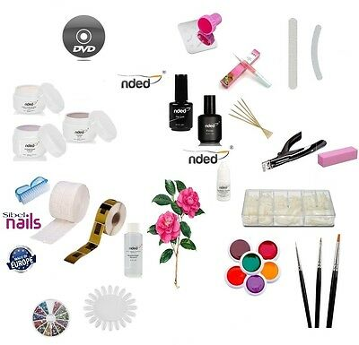 Kit Ricostruzione Unghie Set Nail Art  4 Gel UV + primer  top coat  & dvd