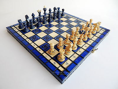 DECORATIVE BLUE WOODEN CHESS SET! FAST SHIPPING & BEST PRICES!! PERFECT GIFT!