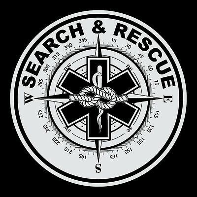 """Search & Rescue Round Reflective Decal Sticker Star of Life Compass Rope 3 7/8"""""""