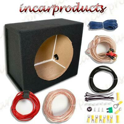 "12"" Empty Sub Subwoofer Enclosure MDF Black Carpted Boom Box  FREE AMP KIT"