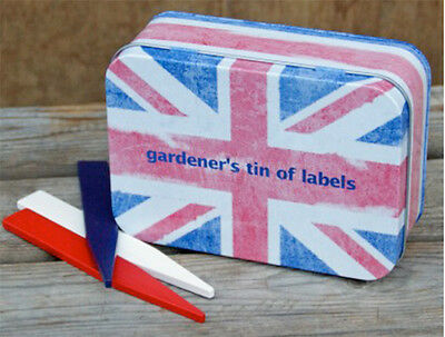 Gardener's Tin of Labels Union Jack Theme by Apples to Pears