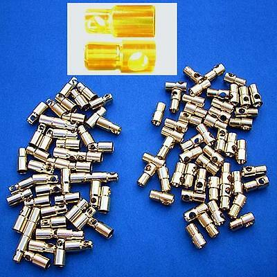 50 Pair 6mm gold Bullet Banana plug Connector For Helicopter Car Truck