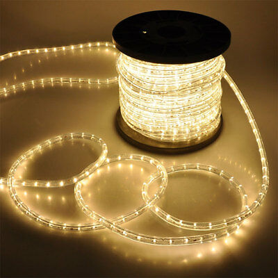 Warm White LED Rope 150ft 110V 2 Wire Flexible DIY Lighting Christmas Outdoor
