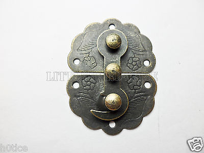10Pcs Antique Brass Jewelry Box Hasp Latch Lock 34x45mm with Screws LC0004