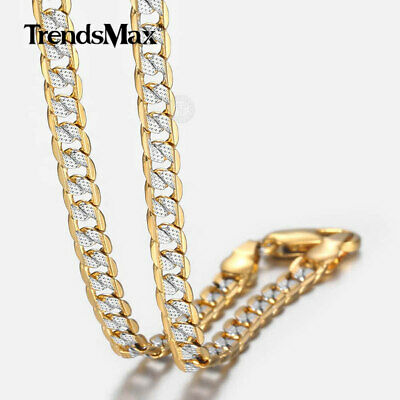 Silver Gold Plated Chain Women Men Necklace Hammer Curb Cuban 4mm 22-36""