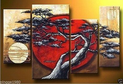 MODERN ABSTRACT HUGE WALL ART OIL PAINTING ON CANVAS 4PCS (no framed)  T07