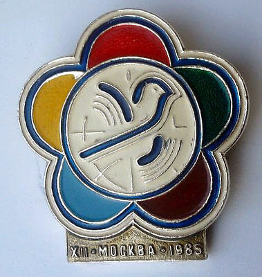 1985 World Student Festival in Moscow - dove of peace - Soviet Russian pin