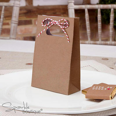 BROWN FAVOUR BAGS x10 -Vintage Style/Retro Wedding Favours- FULL RANGE IN SHOP!