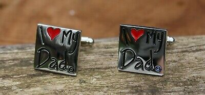 """New Men's """" I Love My Dad """" Cufflinks and Gift Box   Mens Formal Accessory"""