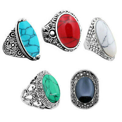 5pcs Antique Silver Plated Mixed Turquoise Rings Wholesale Lot Fashion Jewelry