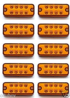 10 pcs 24V 8 LED Side Marker Orange Amber Lights for Volvo MAN DAF Iveco Scania