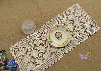 Gorgeous Beige Hand Crochet Cotton Table Runner Doily 32X15""