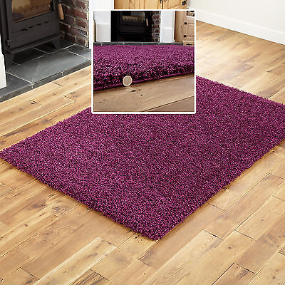 New Large Medium Small Aubergine Colour Thick 5Cm High Pile Shaggy Rugs Runners