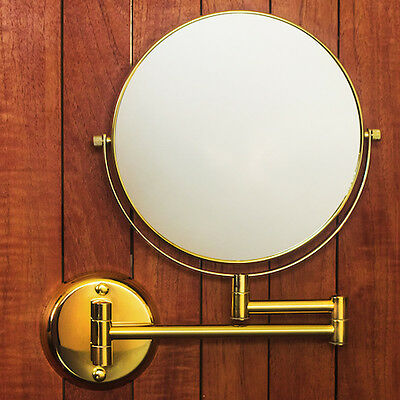 "Hotel Quality GOLD 8"" Wall Mount Swing Arm 2-Sided Magnifying Mirror 1 & 7X"