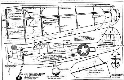"""1/2 A P-39 Bell Airacobra Model airplane plan 26"""" wing  Full sized plans"""
