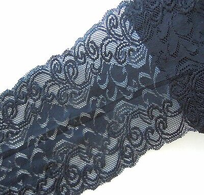 """3 Yards 5 1/2"""" Wide Lovely Stretch Floral lace Black 261"""
