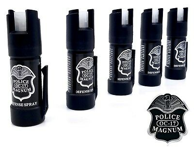 5 PACK Police Magnum pepper spray .50oz GID Bottom Clip Safety Defense Security