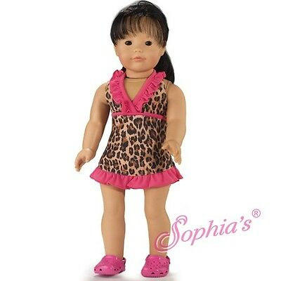 "Doll Clothes 18"" Bathing Suit Leopard Cover Dress  Fits American Girl Dolls"