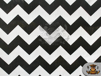 """Polycotton Printed Fabric Large Chevron BLACK WHITE / 60"""" Wide / Sold BTY"""