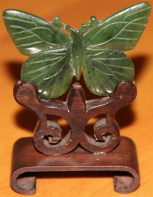 Very Beautiful Chinese Vintage Dark Green Jade Heart  Pendant  With Butterfly