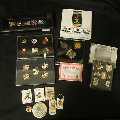 33 Pc lot of Collectors Olympic Pins Pinbacks 1996 Atlanta 1984 ltd editions