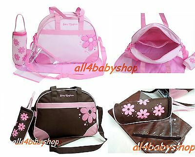 4PCs Baby Nappy Diaper Changing Bags Flower Pink or Brown Colour New 1618