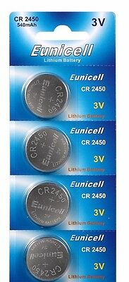 4 x Eunicell CR2450/DL2450 3v Lithium Button/Coin Cell Battery