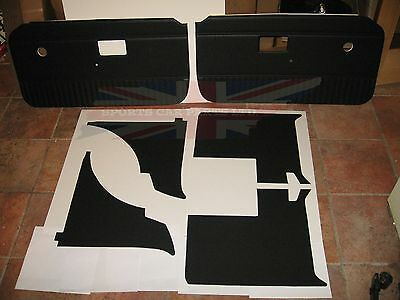 New 6 Piece Interior Panel Set with Door Panels MGB 1970-80 Black No Chrome