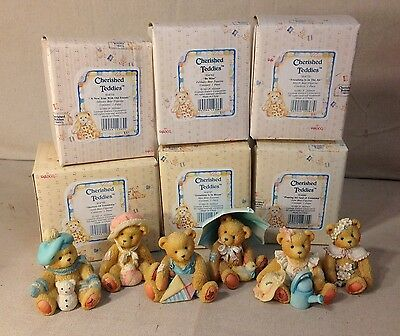 Cherished Teddies Group Of 12 Month Bear Figurines - With Boxes & Paperwork
